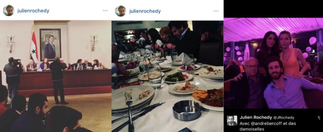 Captures d'écran des comptes Instagram et Twitter de Julien Rochedy. © DR