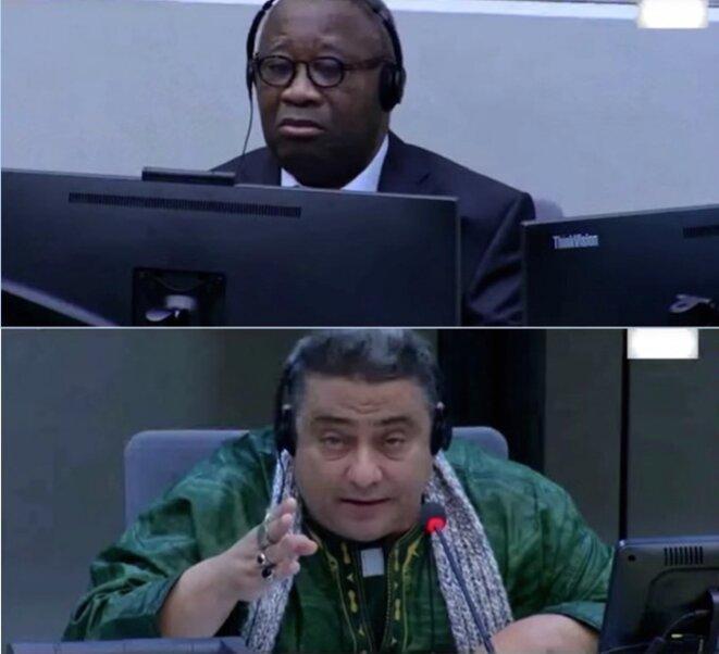 Laurent Gbagbo (en haut) écoute le témoignage de Mohamed Sam Jichi, dit « Sam l'Africain », lors de l'audience devant la CPI