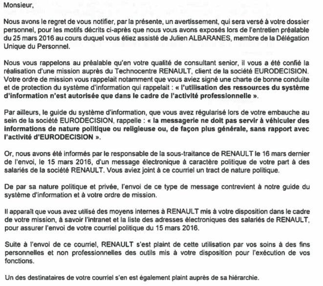 Extrait de la lettre d'avertissement qu'Henri a reçue le 31 mars.