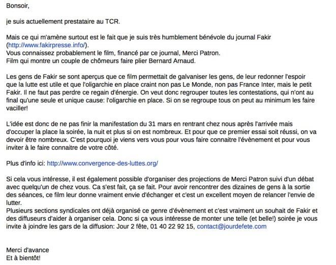 Le mail envoyé par Henri aux organisations syndicales et à deux syndicalistes de la CFE-CGC.