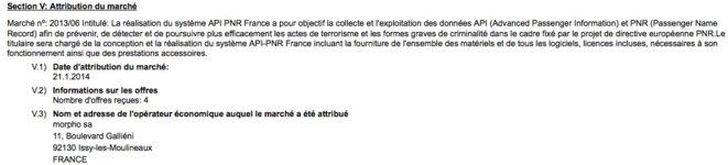 Extrait de l'avis d'attribution du marché du PNR français, en 2014.