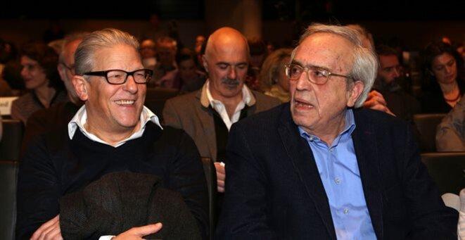 Jan Fabre (à gauche), avec le ministre grec de la Culture, Aristides Baltas