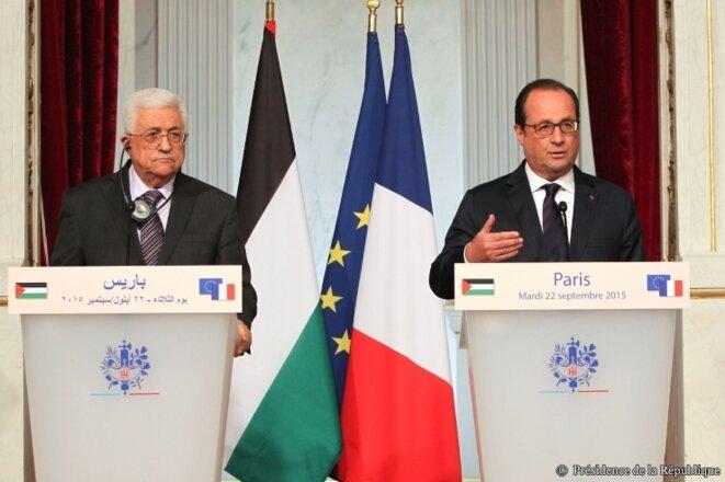François Hollande reçoit Mahmoud Abbas le 22 septembre 2015 © © Présidence de la République - J. Bonet