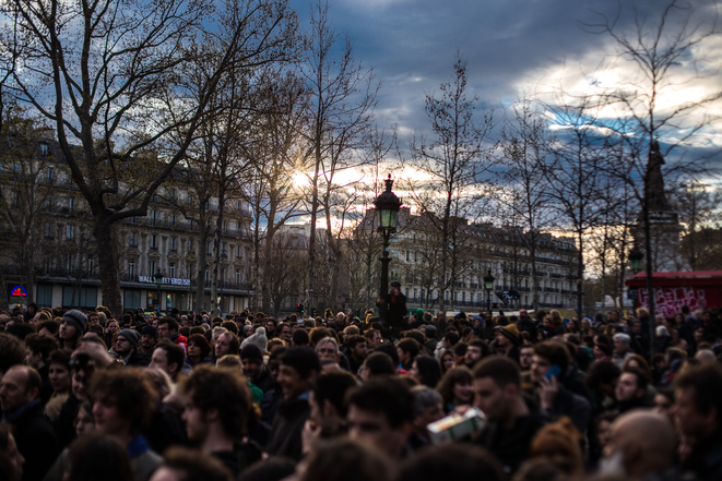 'Nuit Debout', 11 de marzo en la Plaza de la República de París . © Jérôme Chobeaux