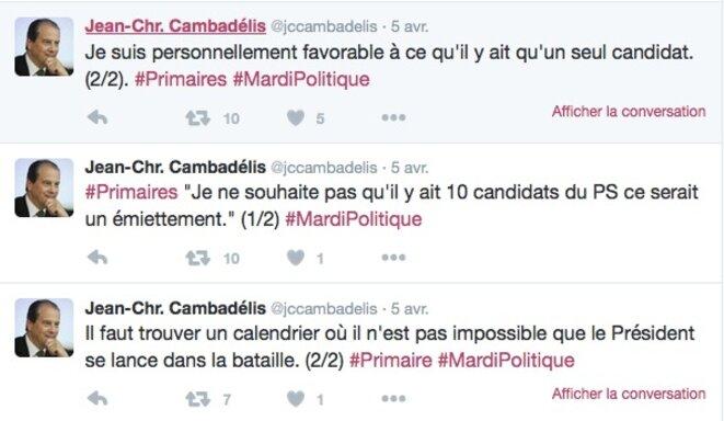 Tweet de JC Cambadélis © @jccambadelis