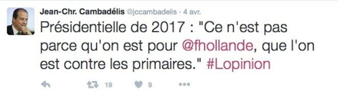 Tweet de Jean-Christophe Cambadélis. © @jccambadelis