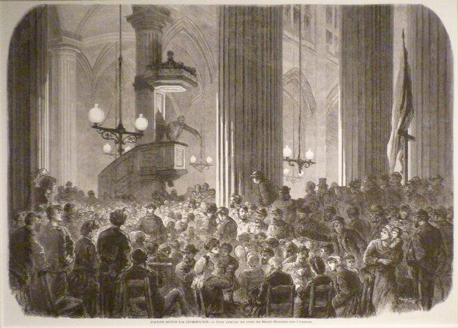 De la Révolution française à Mai 68 en passant par la Commune de Paris, les révolutions sont ces moments privilégiés où la parole populaire se libère. Comme ici, en 1871, dans une église réquisitionnée pour accueillir les débats d'un des multiples clubs qui fleurirent pendant la Commune (club-Saint-Nicolas-des-Champs -DR)