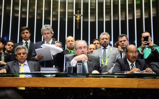 Le président de l'Assemblée brésilienne pendant le vote © Nilson Bastion/ câmarados des Deputados