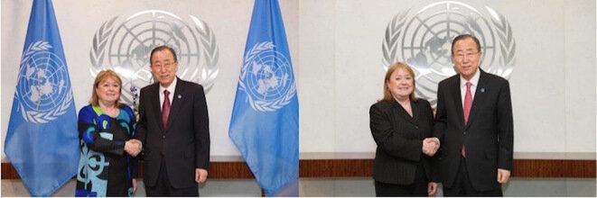 Susana Malcorra: a la izquierda, junto al Ministro de Asuntos Exteriores de Argentina en 2016; a la derecha junto a Ban Ki-moon en 2015. © UN Photo
