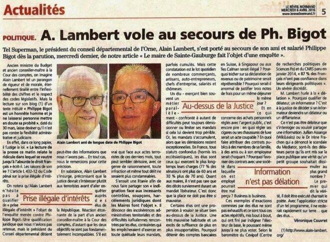 Lambert au secours de Bigot © Le Réveil Normand