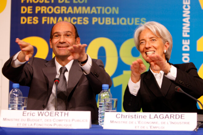 Eric Woerth et Christine Lagarde, en septembre 2008. © Reuters
