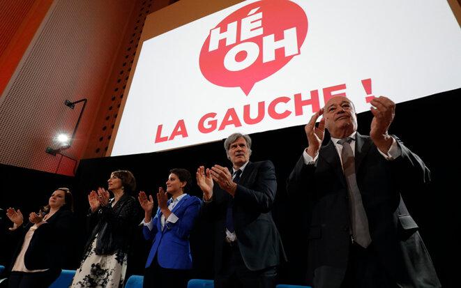 De gauche à droite : Emmanuelle Cosse, Marisol Touraine, Najat Vallaud-Belkacem, Stéphane Le Foll et Jean-Michel Baylet © Reuters