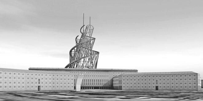 Image de synthèse de la tour Tatline, projet de 1920 que Zischler souhaiterait voir réaliser pour « couronner avec désinvolture (…) cette soif d'extension qui se manifeste à Berlin ».