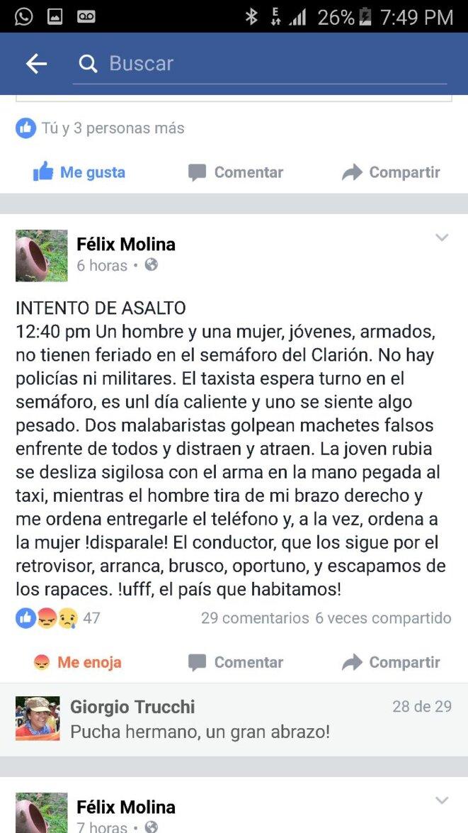 Post de Felix Molina sur les réseaux sociaux