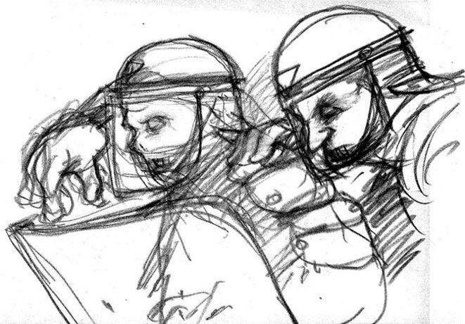 Gendarmes, 1er Mai 2016. © Eloi Valat