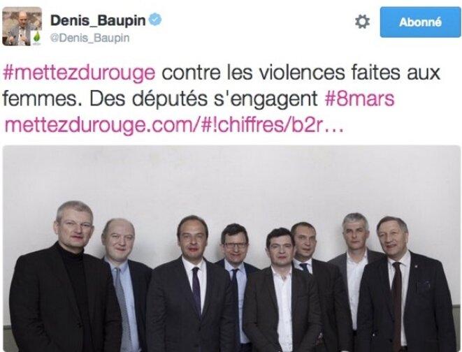 Le tweet de Denis Baupin le 8 mars : « Mettez du rouge »