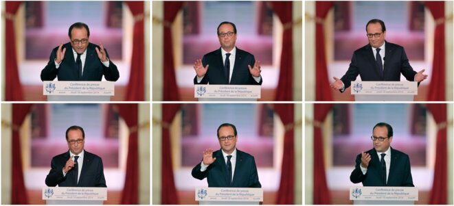 Conférence de presse à l'Elysée le 18 septembre 2014. © Reuters