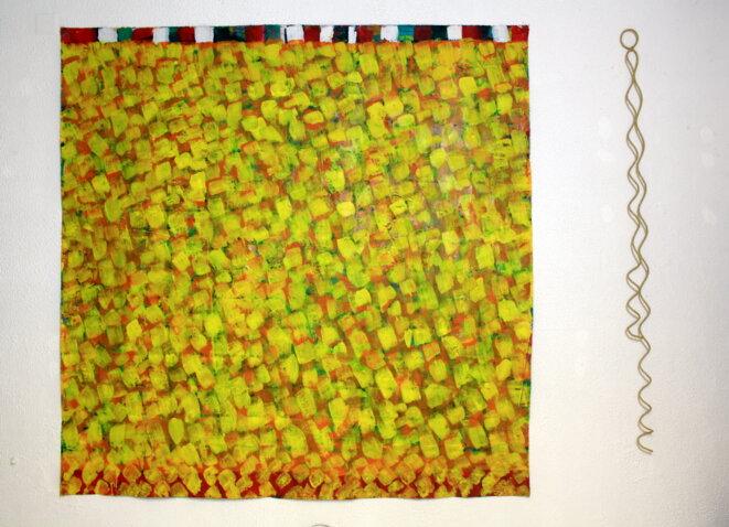 Installation Écartades, Nouyrit (peinture), Rigal (corde), 2015