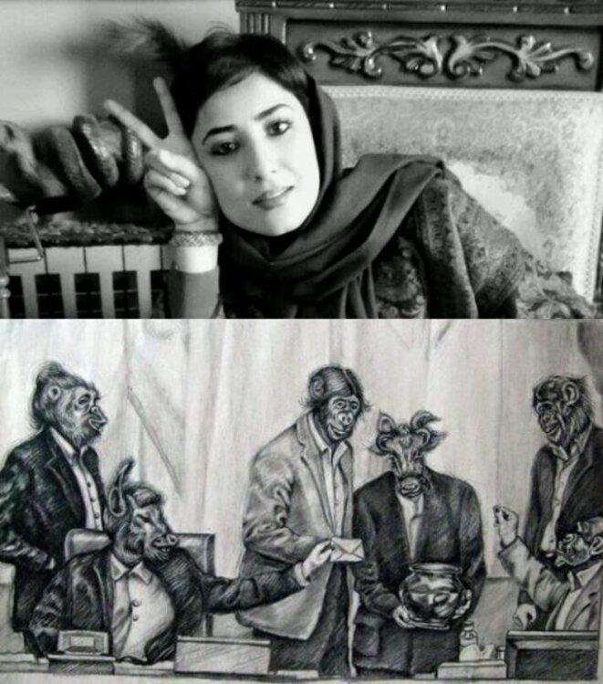 Atena et le dessin pour lequel elle a été condamné à 12 ans de prison. Les députés du régime islamiste sont judicieusement représentés comme des bestiaux incultes © Arezou