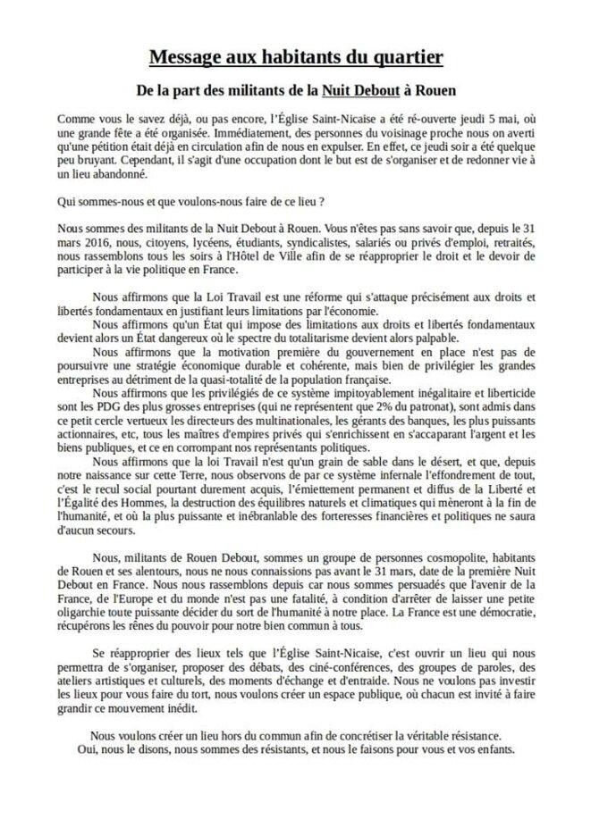 Tract Nuit Debout Rouen adressé aux habitants du quartier Saint-Nicaise © Nuit Debout Rouen