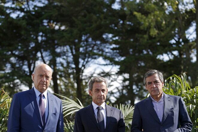 Alain Juppé, Nicolas Sarkozy et François Fillon à La Baule, septembre 2015. © Reuters