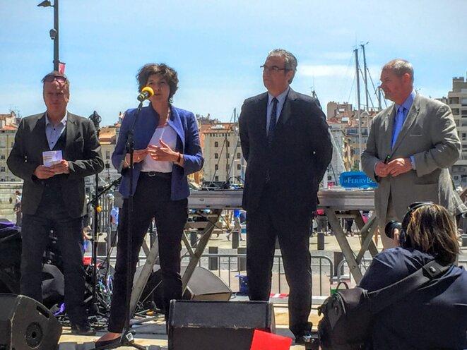 De gauche à droite : Stéphane François, président national de l'association Eurocircle ; Sylvie Goulard, députée du Parlement Européen ; Patrick Boré, maire de la Ciotat ; Andy Lom, chef de la Représentation régionale de la Commission européenne en France. © Bureau d'information du Parlement européen à Marseille
