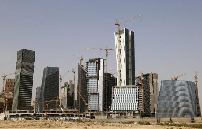 Construction du « quartier de la finance du roi Abdallah » au nord de Riyad, le 11 avril 2016. © Faisal Nasser/Reuters