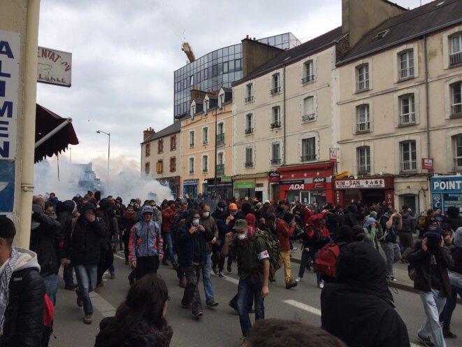 A Rennes, la manifestation contre la répression a été stoppée rue de l'Alma © Kl