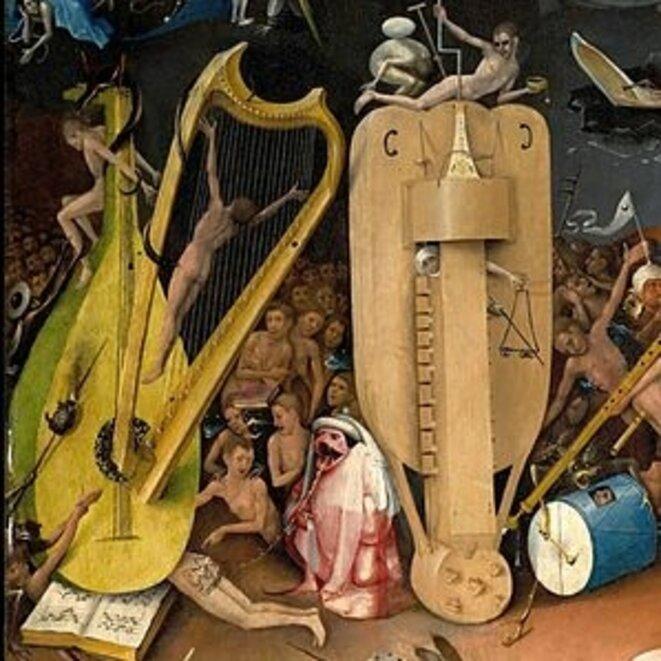 """Dans le """"Jardin des délices"""", instruments de musique en Enfer !"""
