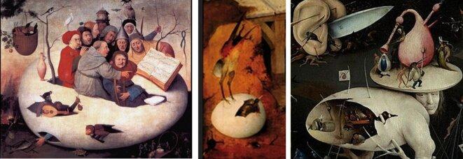 """Bosch : Le concert dans l'oeuf ; détail de La Tentation; détail de l'Enfer du """"Jardin des délices"""", l'homme arbre et oeuf aurait le visage du peintre"""
