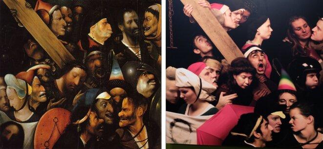 Le Portement de croix, de Jérôme Bosch, et ses jeunes imitateurs d'aujourd'hui [Ph.YF]