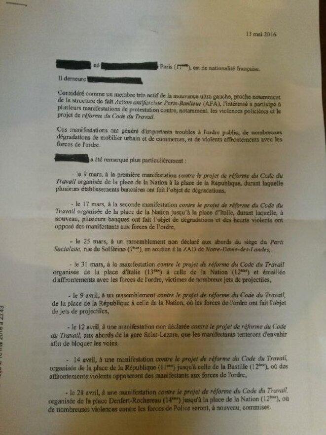 Note blanche produite par la préfecture pour justifier une interdiction de séjour
