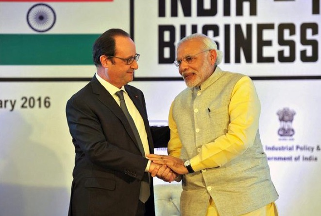 François Hollande et Narendra Modi à Chandigarh en janvier 2016 © cdc.sandiegouniontribune.com