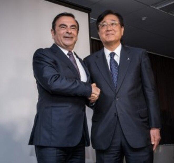 Carlos Ghosn et Osamu Masuko, patron de MMC © Nissan