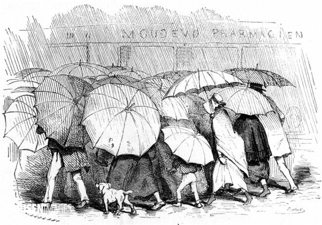 Parisiens sous la pluie © Leblanc
