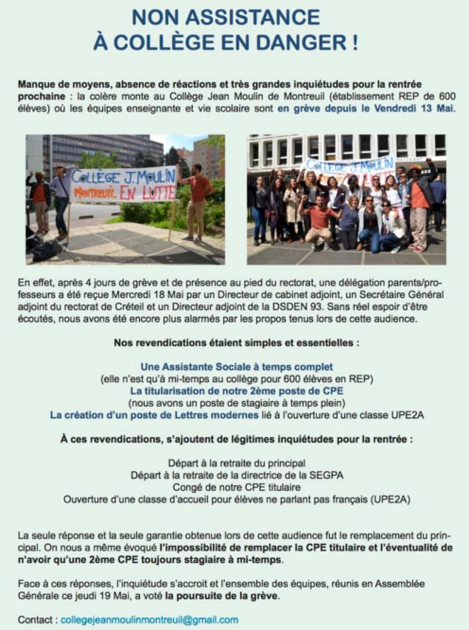 Revendications du collège Jean Moulin de Montreuil © collège Jean Moulin