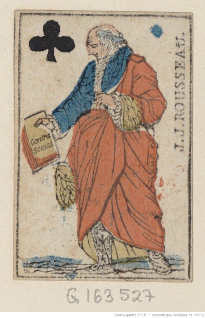 Jean-Jacques Rousseau, jeu de carte révolutionnaire, 1794. Source: www.gallica.fr