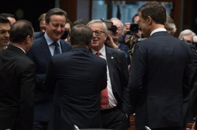 David Cameron et Jean-Claude Juncker à Bruxelles le 18 février 2016. ©CE.