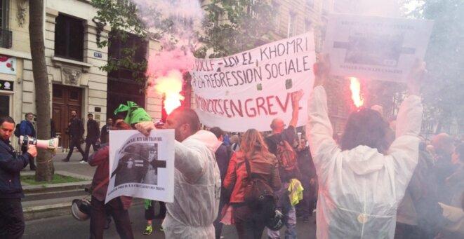 Le cortège cheminot pendant la manifestation parisienne, le 26 mai 2016 à Paris. © CG