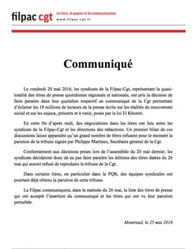 Le communiqué de la Filpac