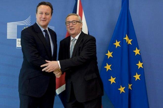 David Cameron et Jean-Claude Juncker à Bruxelles en février 2016 ©CE.