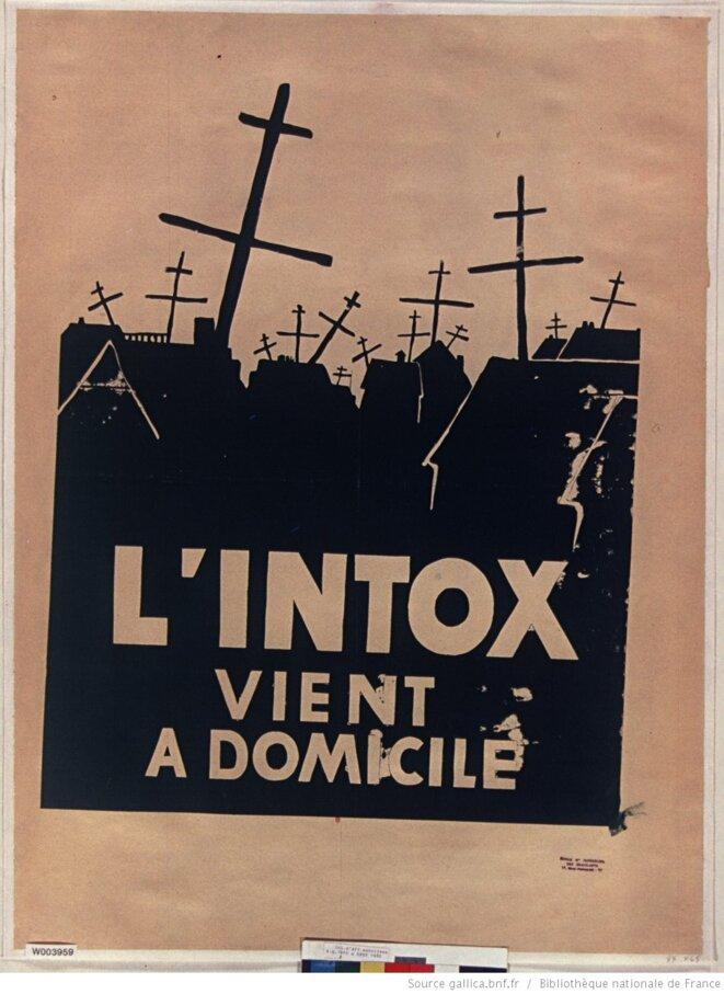 """Affiche de l'école des beaux arts de Paris, mai 1968, intitulée """"L'intox vient à domicile"""". Source: www.gallica.fr"""