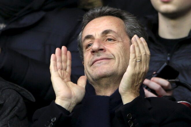 Nicolas Sarkozy, le 20 février 2016, au Parc des Princes. © Reuters