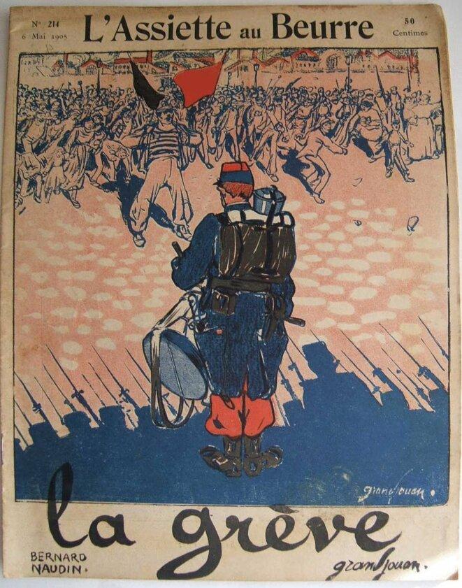 « La grève » par Grandjouan en Une de « L'Assiette au beurre » de mai 1905