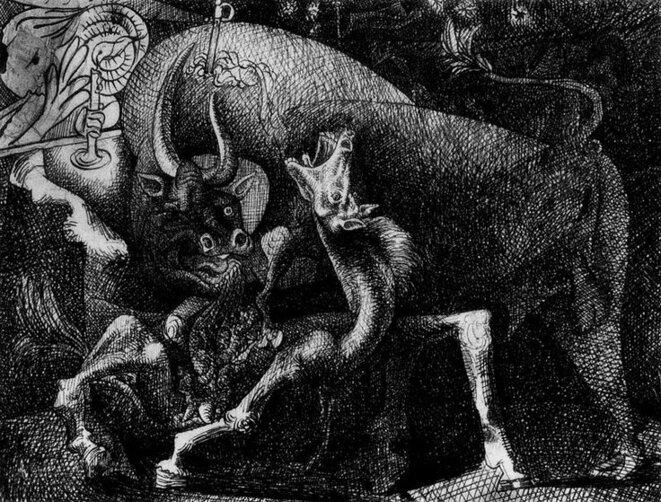 Femme à la bougie, combat entre le taureau et le cheval, 1934