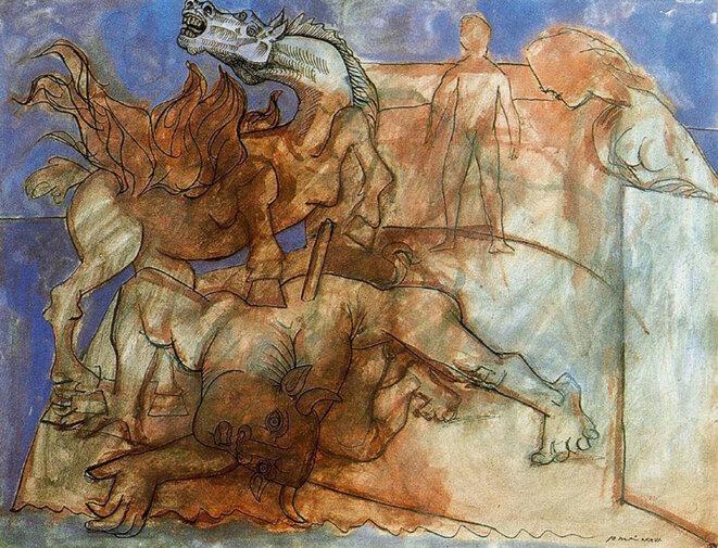 Minotaure blessé, cheval et personnages, 1936