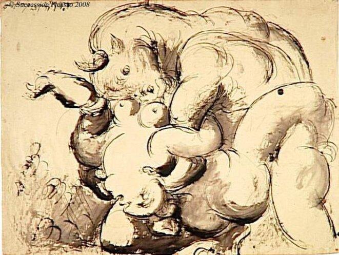 Minotaure violant une femme, 1933
