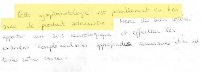 Extrait de la lettre rédigée par le médecin du laboratoire. © Mediapart