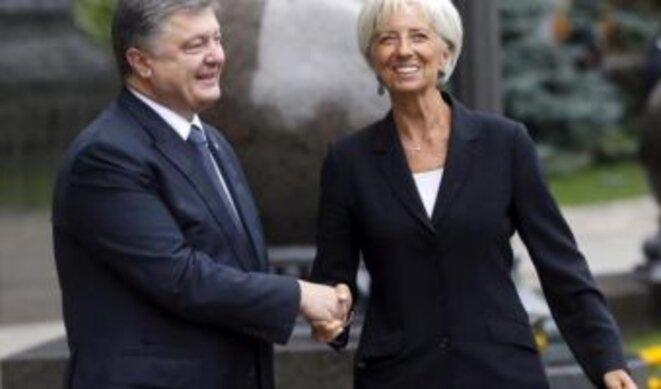 Le président ukrainien Petro Porochenko et Christine Lagarde directrice générale du FMI