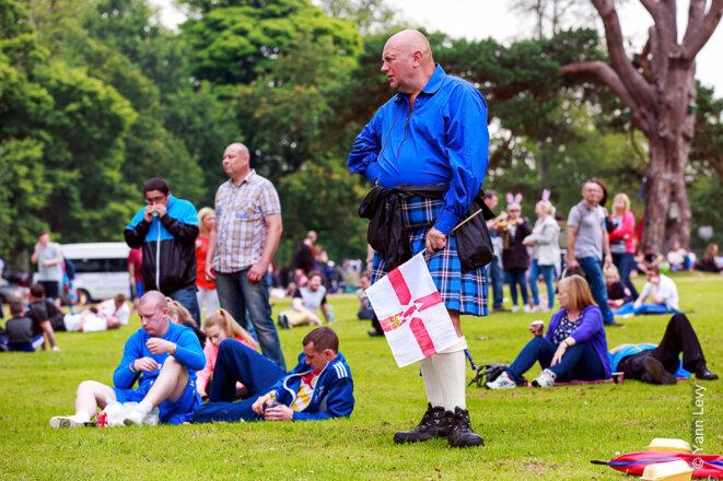 Un loyaliste écossais assiste à la conférence organisée par la loge de Belfast suivant les défilés du 12 juillet © Yann Levy / Reproduction partielle ou totale strictement interdite